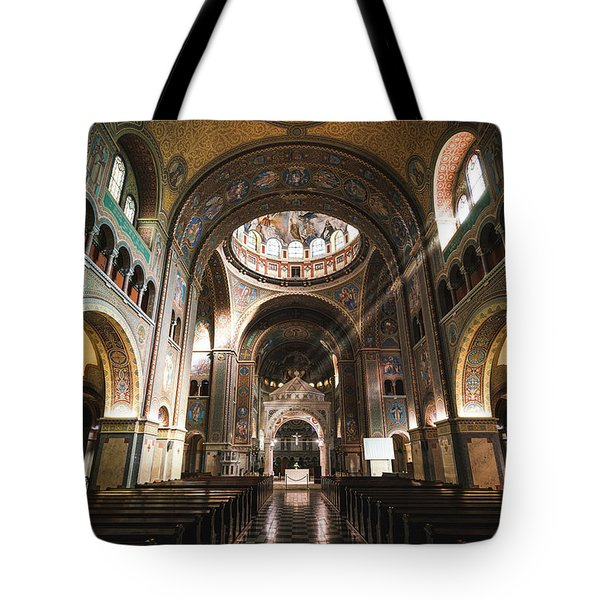 Interior Of The Votive Cathedral, Szeged, Hungary Tote Bag
