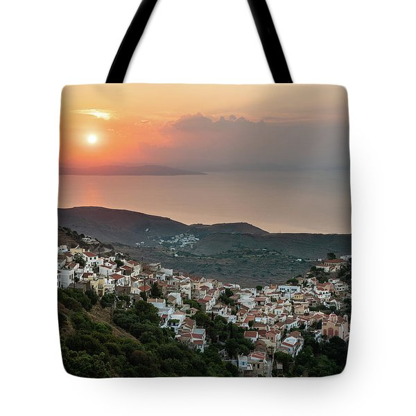Tote Bag featuring the photograph Ioulis Town Sunset, Kea by Milan Ljubisavljevic