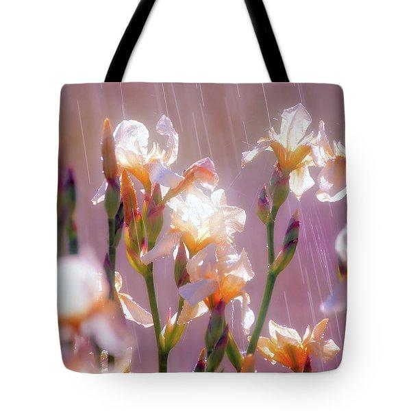Iris In Rain Tote Bag