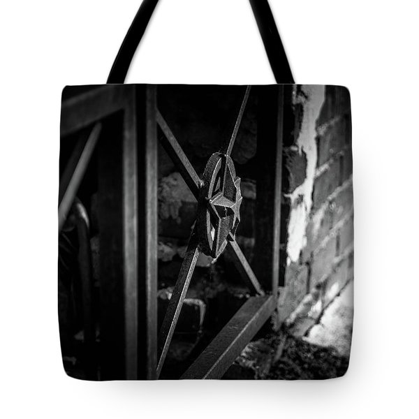 Tote Bag featuring the photograph Iron Gate In Bw by Doug Camara