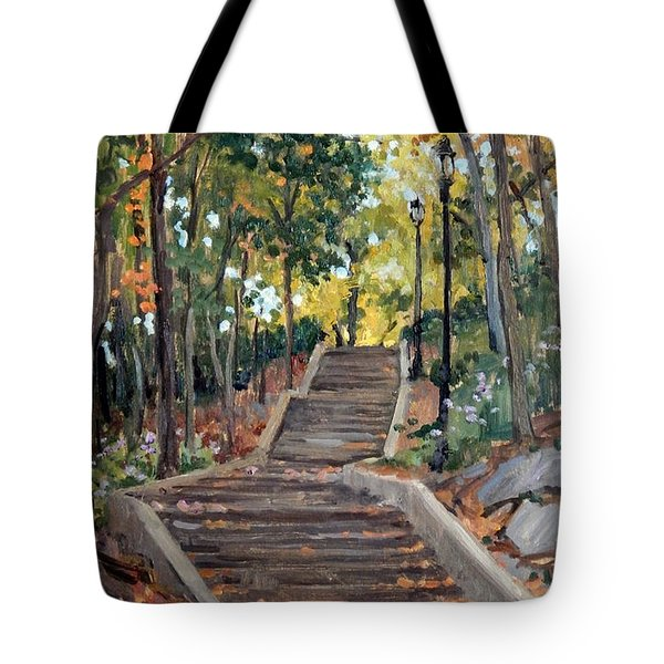 Isham Park Steps New York Autumn Tote Bag