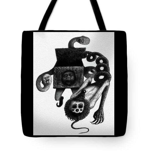 Tote Bag featuring the drawing Jack In The Box - Artwork by Ryan Nieves