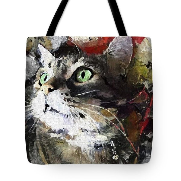 Tote Bag featuring the digital art Jack The Green Eyed Manx Cat by Peggy Collins