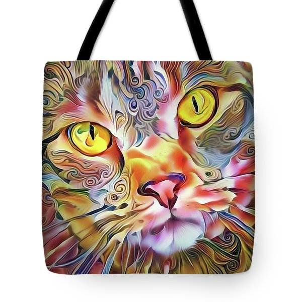 Tote Bag featuring the mixed media Jack The Tabby Cat by Peggy Collins