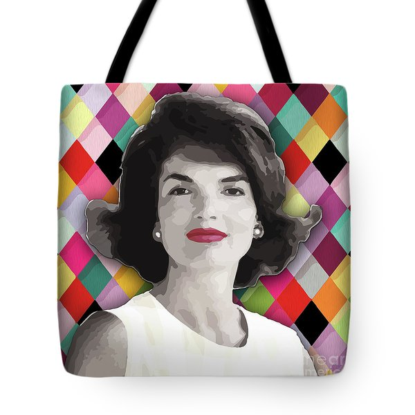 Tote Bag featuring the painting Jackie Geometric by Carla B