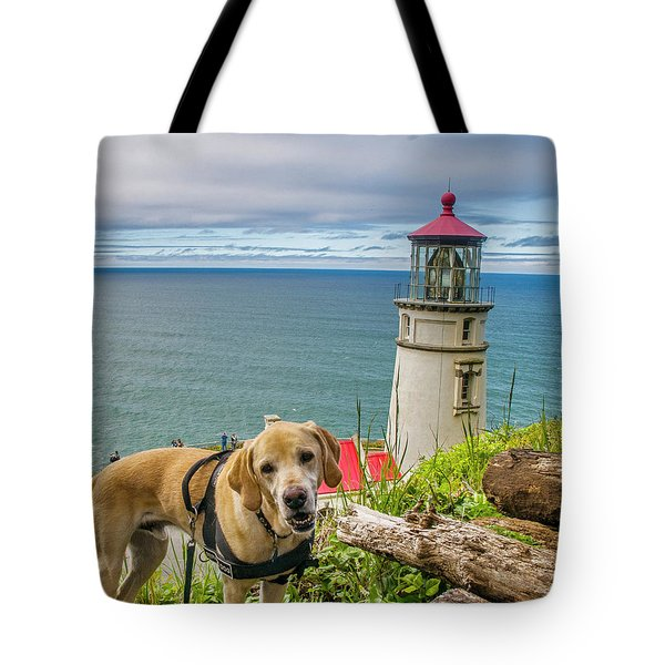 Jackson At Heceta Head Lighthouse Tote Bag