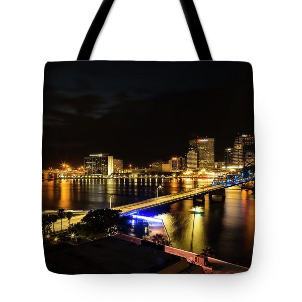 Jacksonville Skyline By Night Tote Bag