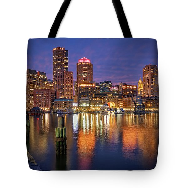 January Sunset At Fan Pier Tote Bag