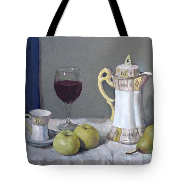 Japanese Chocolate Pot, Wine And Fruit Tote Bag