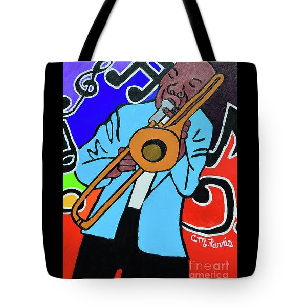 Tote Bag featuring the painting Jazz It  Up by Christopher Farris