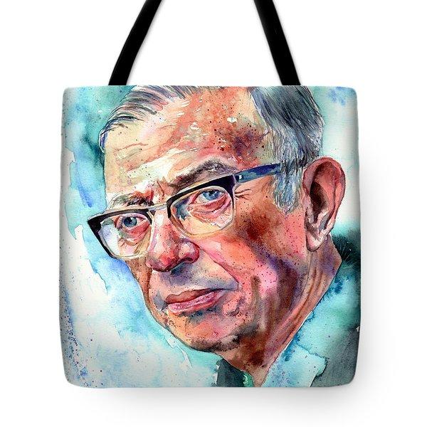 Jean-paul Sartre Portrait Tote Bag