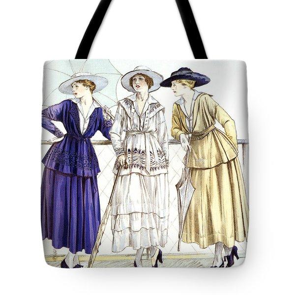 Jersey Suit, Models By Gabrielle Chanel Published In Magazine Les Elegances Parisiennes, March 1917 Tote Bag