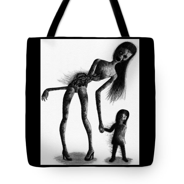 Tote Bag featuring the drawing Jessica And Her Broken - Artwork by Ryan Nieves