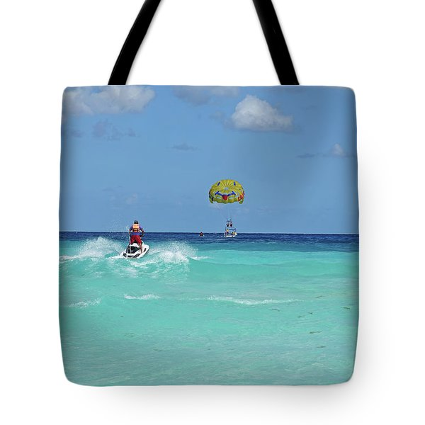 Jet Skiing On The Beautiful Blue Water Of Cancun Beach Cancun Mexico Tote Bag