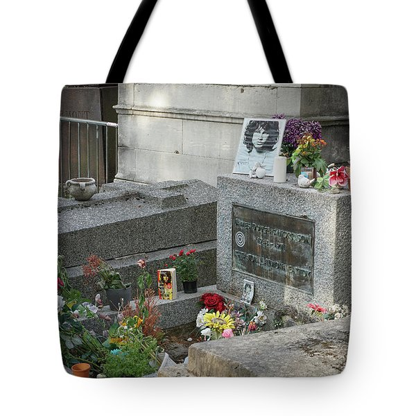 Tote Bag featuring the photograph Jim Morrison's Grave by Jim Mathis
