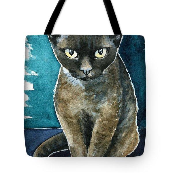 Joey - Devon Rex Cat Painting Tote Bag