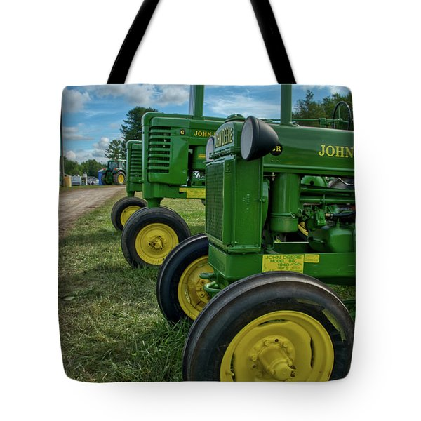 Tote Bag featuring the photograph John Deer's In A Line by Mark Dodd