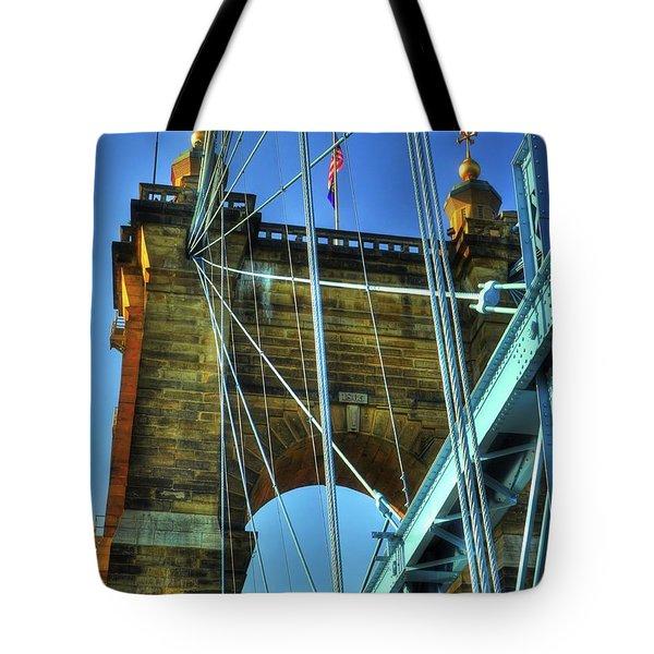 Tote Bag featuring the photograph John Roebling's Historic Cincinnati Suspension Bridge by Mel Steinhauer