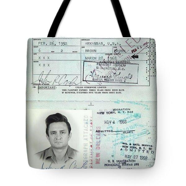 Johnny Cash Passport 1968 Tote Bag