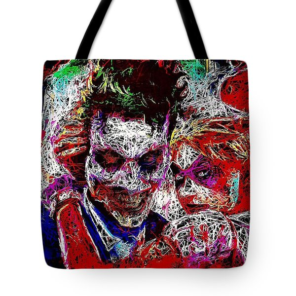 Tote Bag featuring the mixed media Joker And Harley Quinn 2 by Al Matra