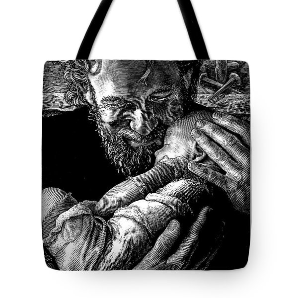 Tote Bag featuring the drawing Joseph by Clint Hansen