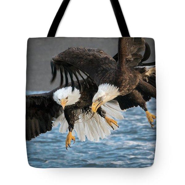 Jousting Eagles Tote Bag