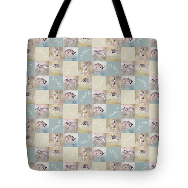 Tote Bag featuring the photograph Joyful Little Fawns Collage by Jai Johnson