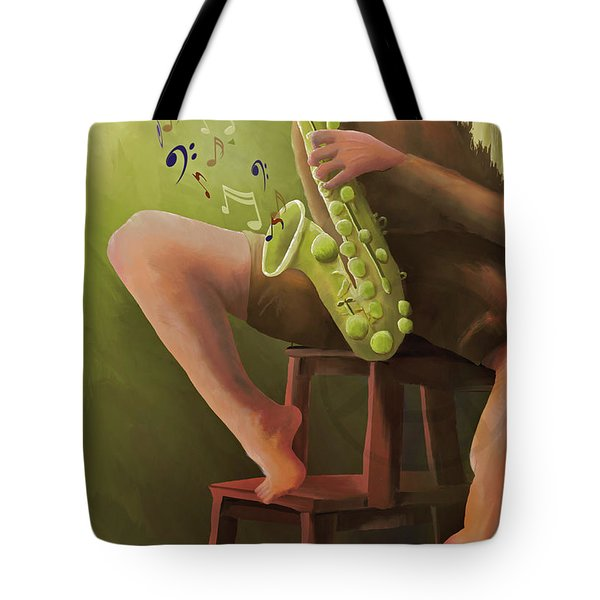 Tote Bag featuring the digital art Joys Of The Saxophone by April Burton