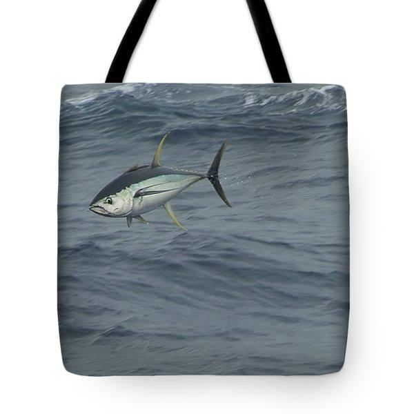 Jumping Yellowfin Tuna Tote Bag