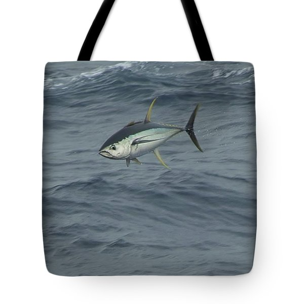 Jumping Yellowfin Tuna Tote Bag