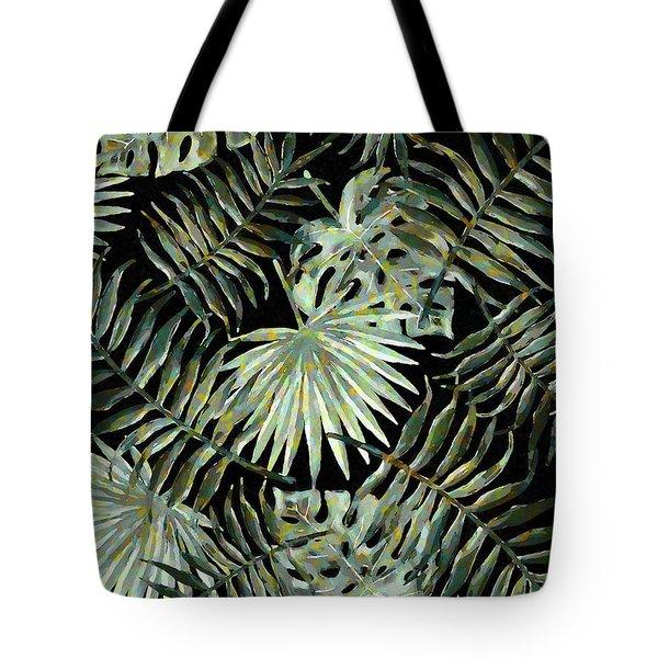 Jungle Dark Tropical Leaves Tote Bag