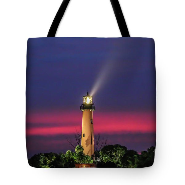 Tote Bag featuring the photograph Jupiter Light Beam by Tom Claud