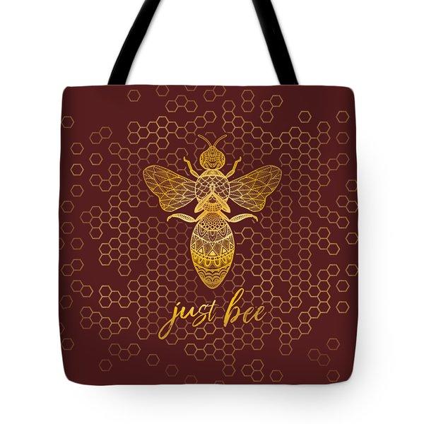 Just Bee - Geometric Zen Bee Meditating Over Honeycomb Hive  Tote Bag