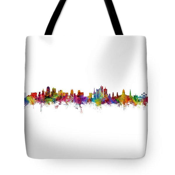 Kansas City And Brussels Skyline Mashup Tote Bag