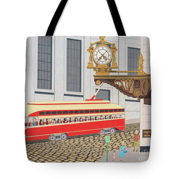 Tote Bag featuring the drawing Kaufmann Clock by John Wiegand