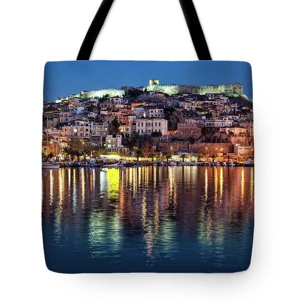 Tote Bag featuring the photograph Kavala Town At Night by Milan Ljubisavljevic