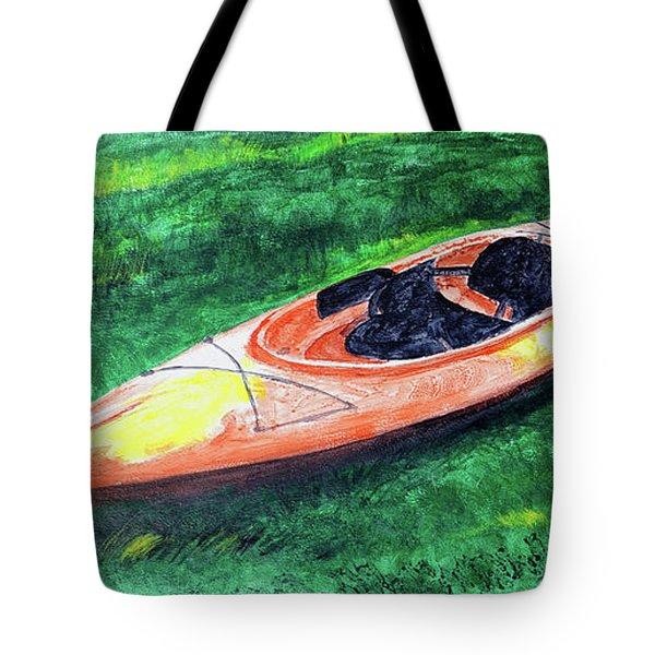 Kayak In The Grass Tote Bag