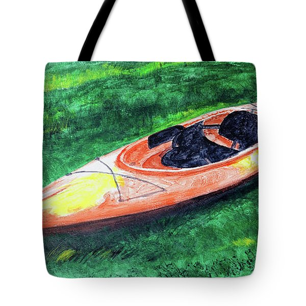 Kayak In The Grass Tote Bag