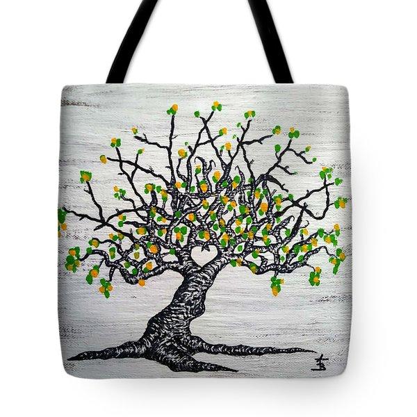 Kayaker Love Tree Art Tote Bag
