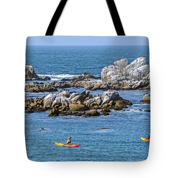 Kayakers Experience Bird Rock At Pacific Grove Tote Bag