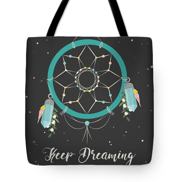 Keep Dreaming - Boho Chic Ethnic Nursery Art Poster Print Tote Bag