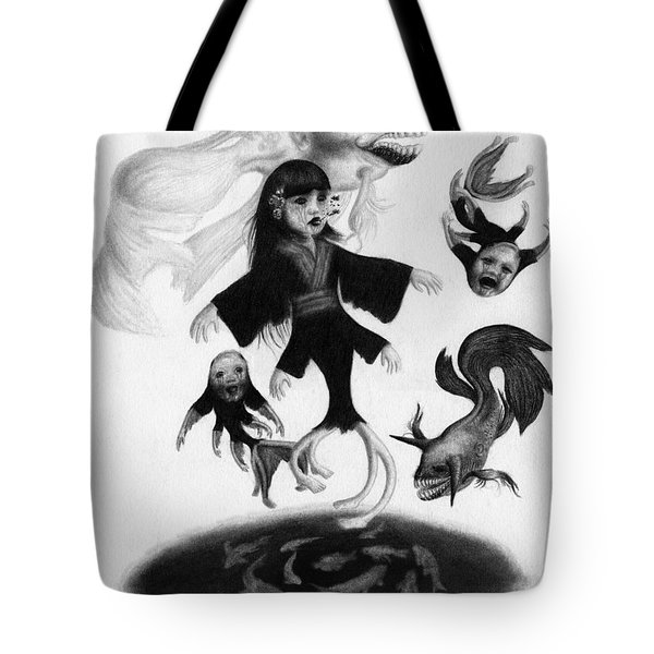 Tote Bag featuring the drawing Keiko Among The Koi - Artwork by Ryan Nieves