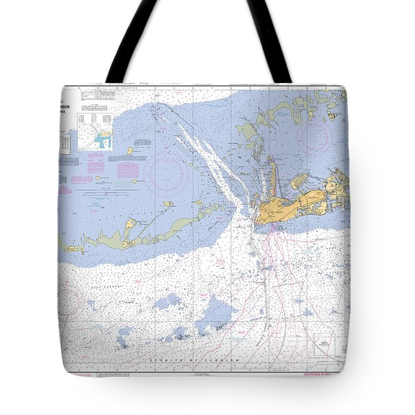 Key West Harbor And Approaches, Noaa Chart 11441 Tote Bag