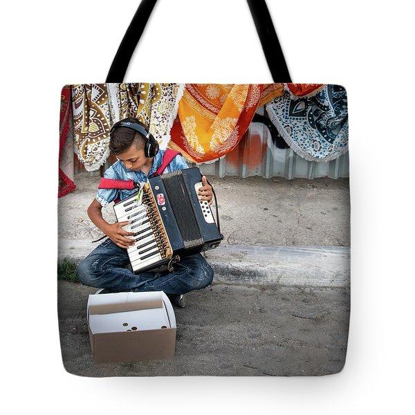Kid Playing Accordeon Tote Bag