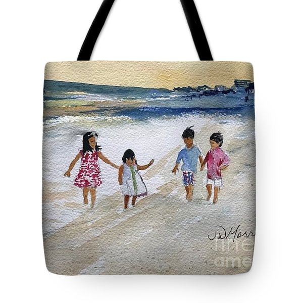 84eb2972dc Tote Bag featuring the painting Kids On The Beach by Jill Morris