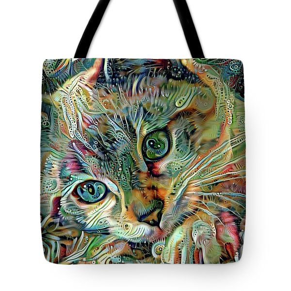 Tote Bag featuring the digital art Kiki The Siamese Kitten by Peggy Collins