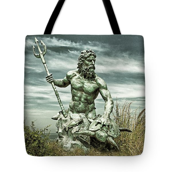 Tote Bag featuring the photograph King Neptune Guards The Cape Charles Beach by Bill Swartwout Fine Art Photography