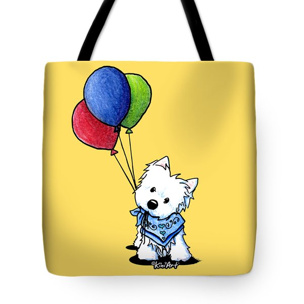Kiniart Westie With Balloons Tote Bag