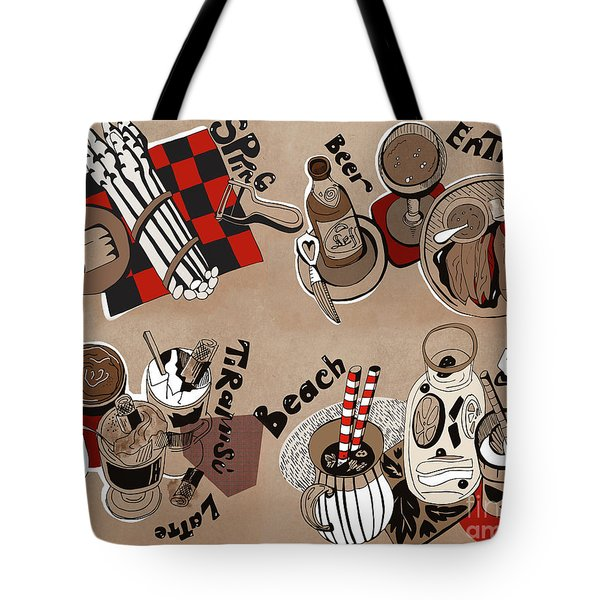 Tote Bag featuring the drawing Kitchen by Ariadna De Raadt
