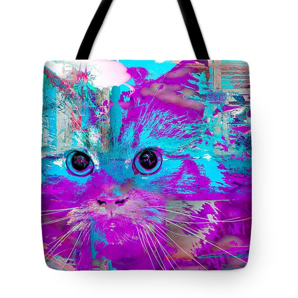 Kitty Collage Blue Tote Bag